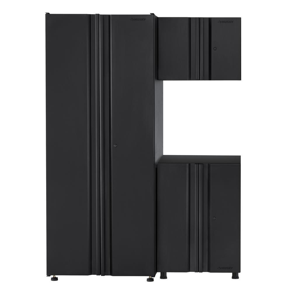 Husky Welded 54 in. W x 75 in. H x 19 in. D Steel Garage Cabinet Set in Black (3-Piece)