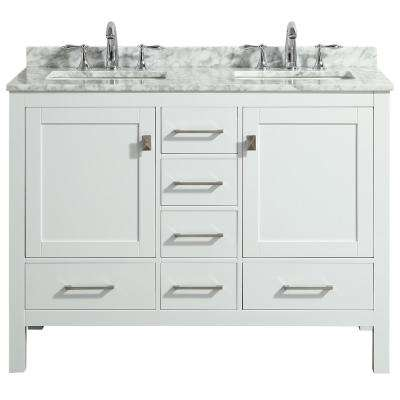 Aberdeen 48 in. Transitional White Bathroom Vanity with White Carrara Countertop and Double Sinks