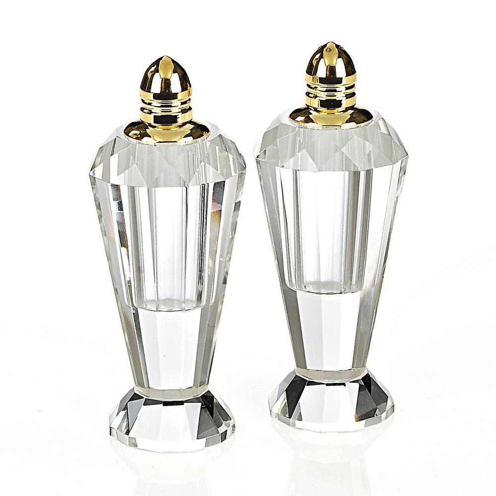 Handmade Lead Free Crystal Pair Salt and Pepper Clear Preston Gold