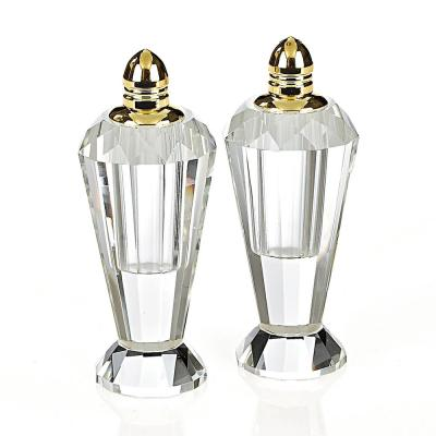 Handmade Lead Free Crystal Pair Salt and Pepper Clear Preston Gold Tops