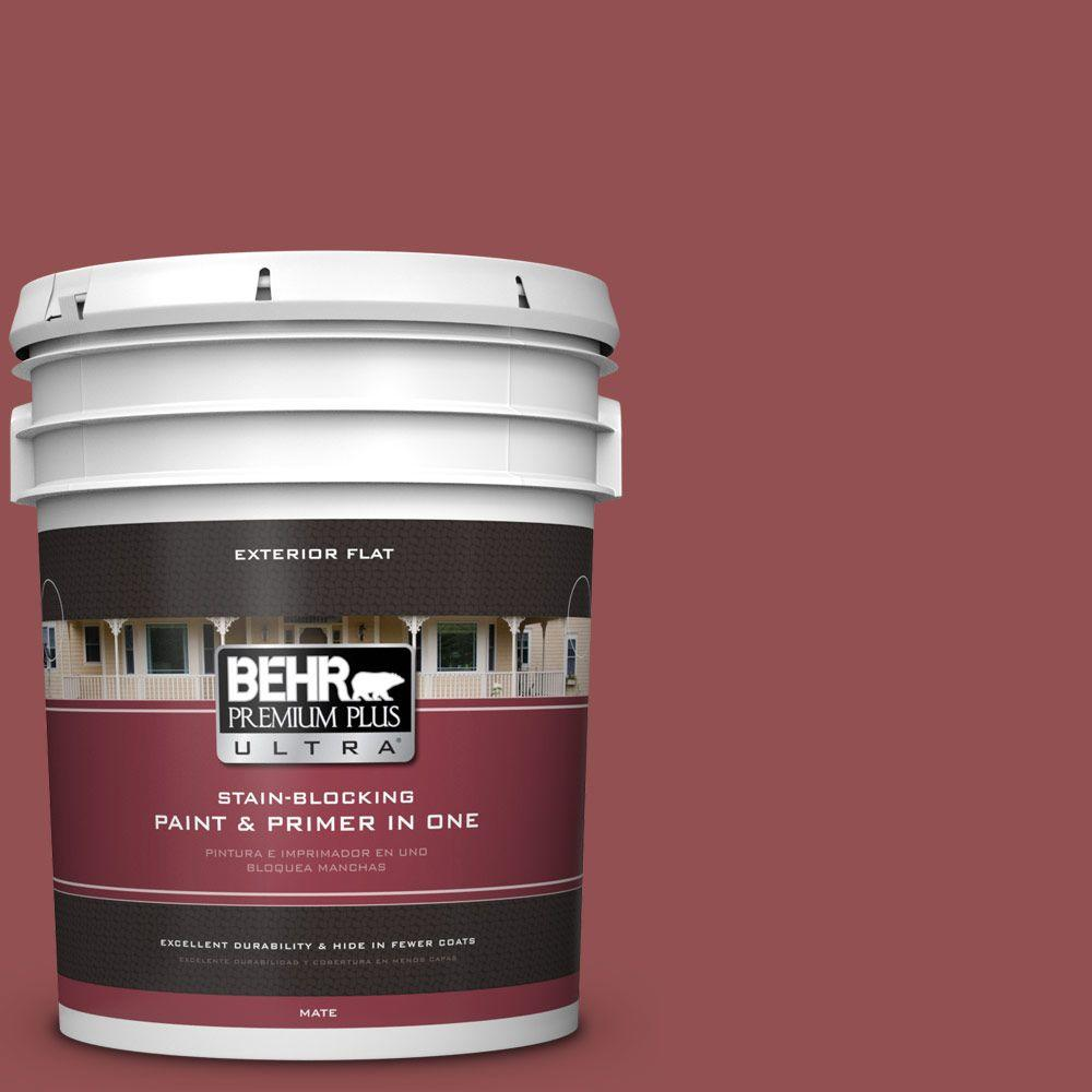 5-gal. #PPU1-8 Pompeian Red Flat Exterior Paint