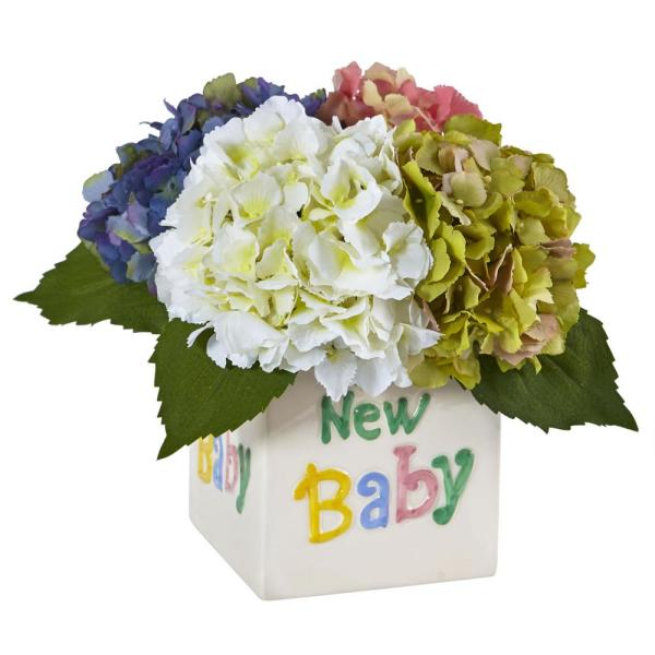 Nearly Natural 9.5 in. Hydrangea in New Baby Ceramic in Assorted
