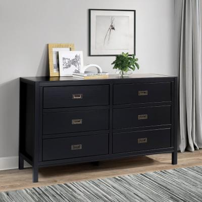"57"" Classic Solid Wood 6-Drawer Dresser - Black"