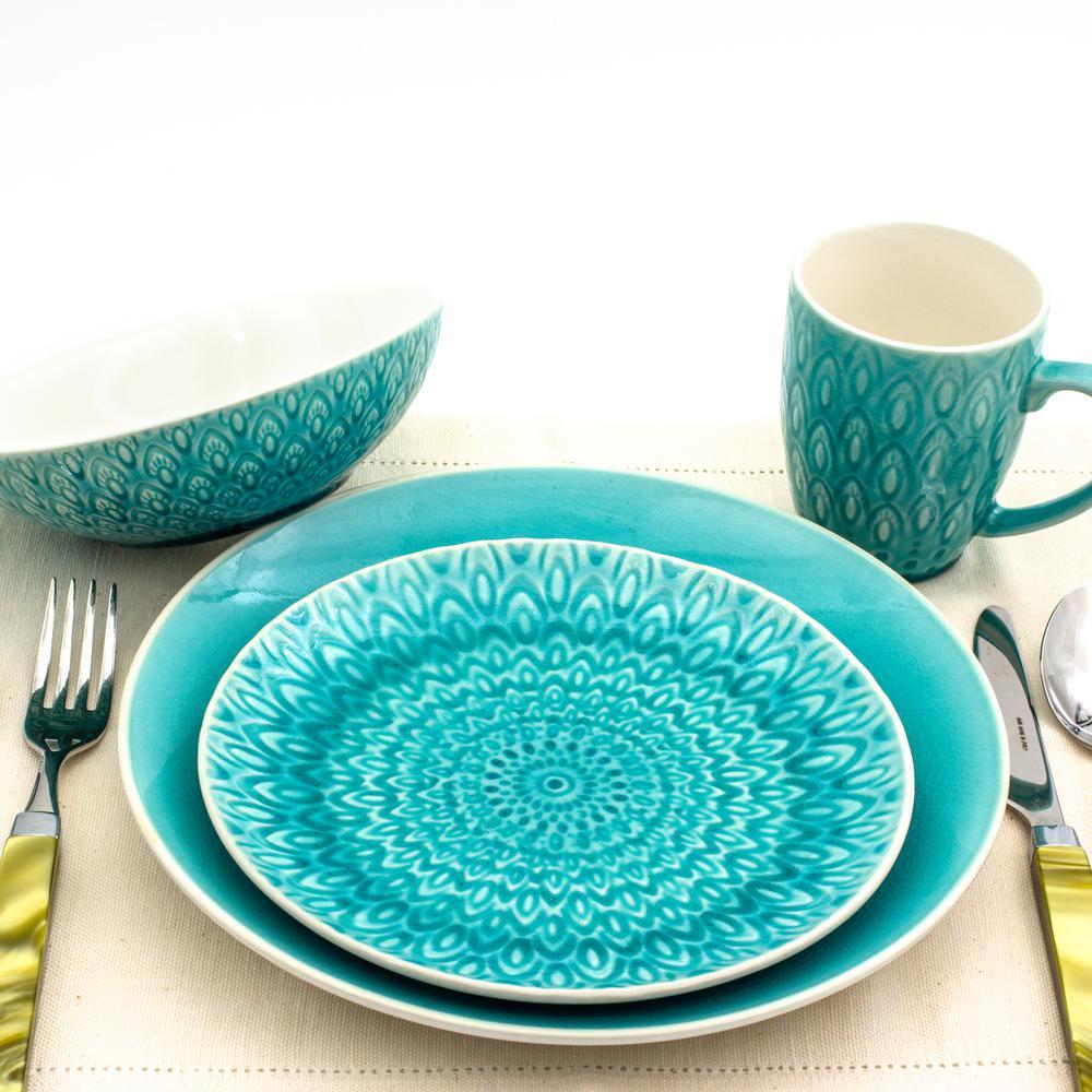 Peacock 16-Piece Lagoon Stoneware Crackle-Glaze Dinnerware Set (Service for 4)
