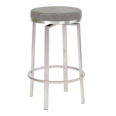 Katy 26 in. Counter Swivel Stool in Retro Grey Fabric with Stainless Steel Base (2-Pack)