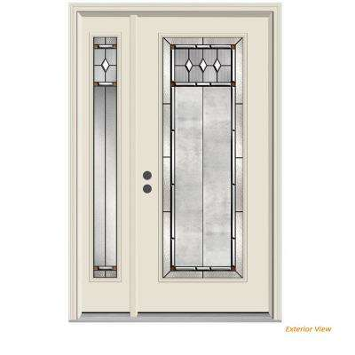 52 in. x 80 in. Full Lite Mission Prairie Primed Steel Prehung Right-Hand Inswing Front Door with Left-Hand Sidelite