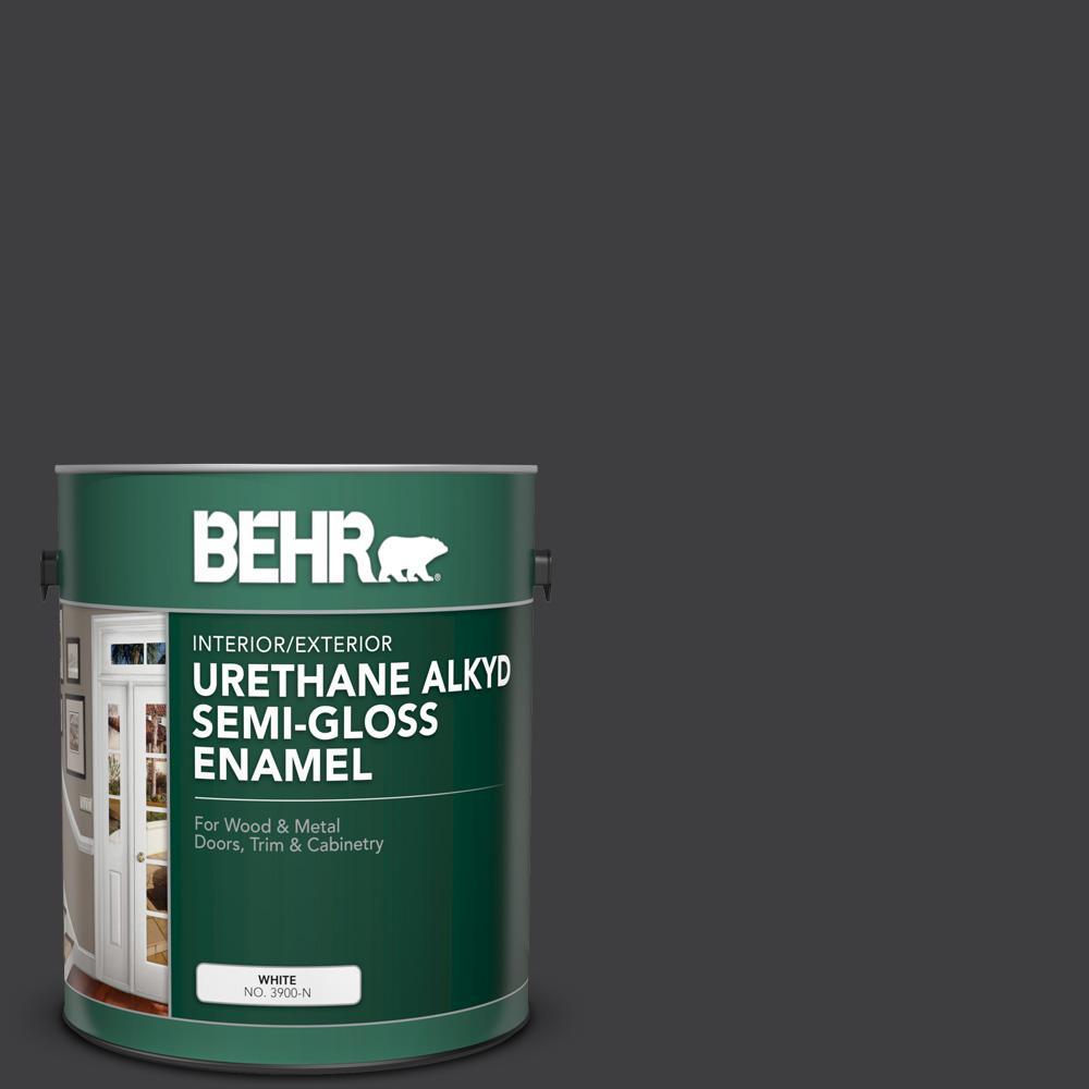 1 gal. #AE-54 Molten Black Urethane Alkyd Semi-Gloss Enamel Interior/Exterior Paint