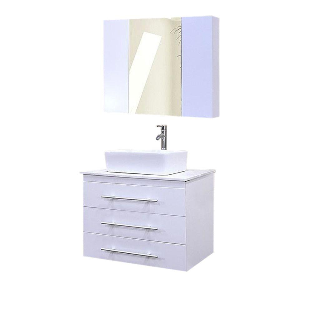 Design Element Portland 30 in. W x 22 in. D Single Vanity and Mirror in White with White Quartz Vanity Top