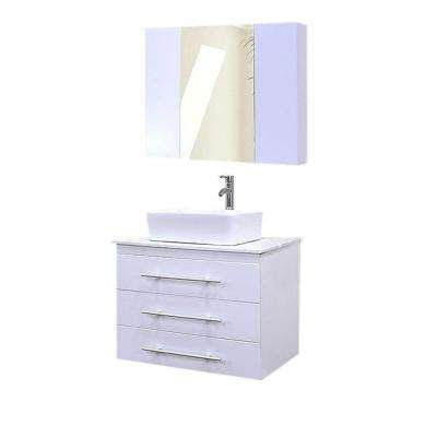 Portland 30 in. W x 22 in. D Single Vanity and Mirror in White with White Quartz Vanity Top