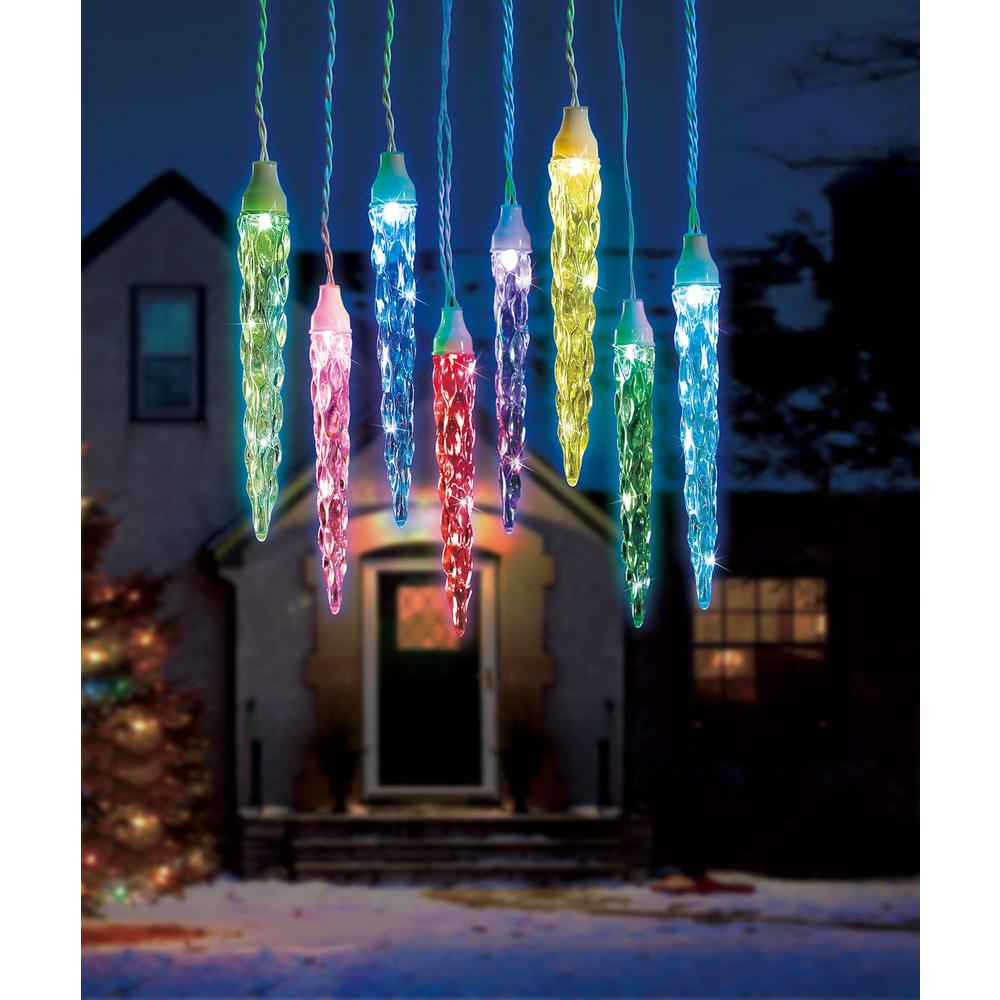 6 light color blast remote controlled large icicle rgb led