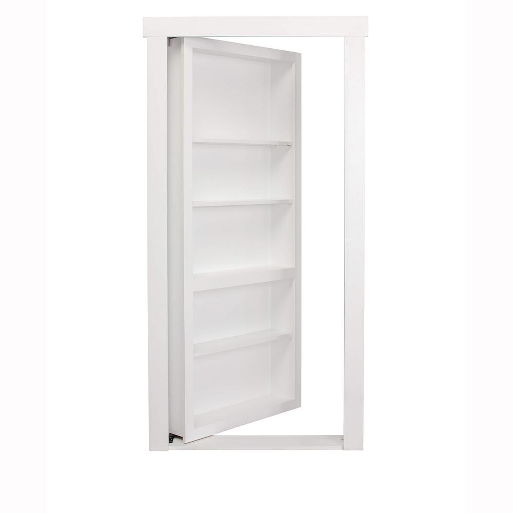 The murphy door 30 in x 80 in flush mount assembled paint grade flush mount assembled paint grade mdf white painted universal solid core interior bookcase door planetlyrics Choice Image