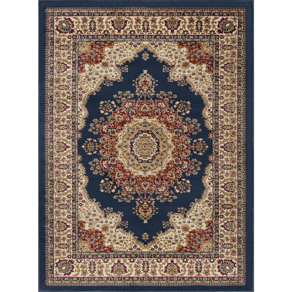 Tayse Rugs Sensation Navy Blue 8 ft. x 11 ft. Traditional ...
