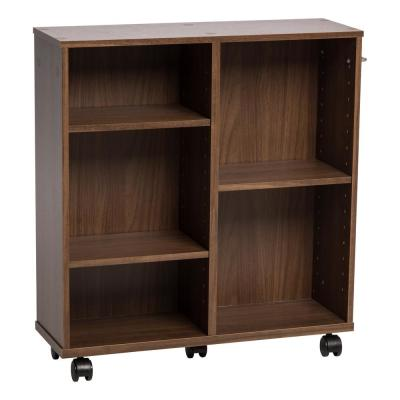 25.59 in. Dark Brown Faux Wood 5-shelf Standard Bookcase with Adjustable Shelves