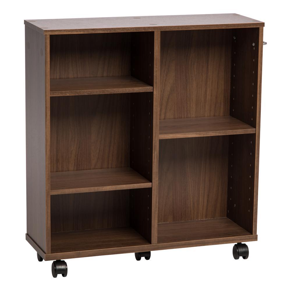 Dark Brown Wooden Rolling Shelf