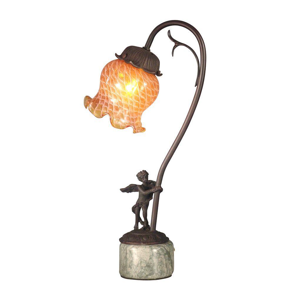 Amber Tulip Blown Glass 16.75 in. Antique Bronze Accent Lamp with Cherub Base