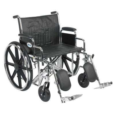 Sentra EC Heavy Duty Wheelchair with Desk Arms, Elevating Leg Rests and 24 in. Seat