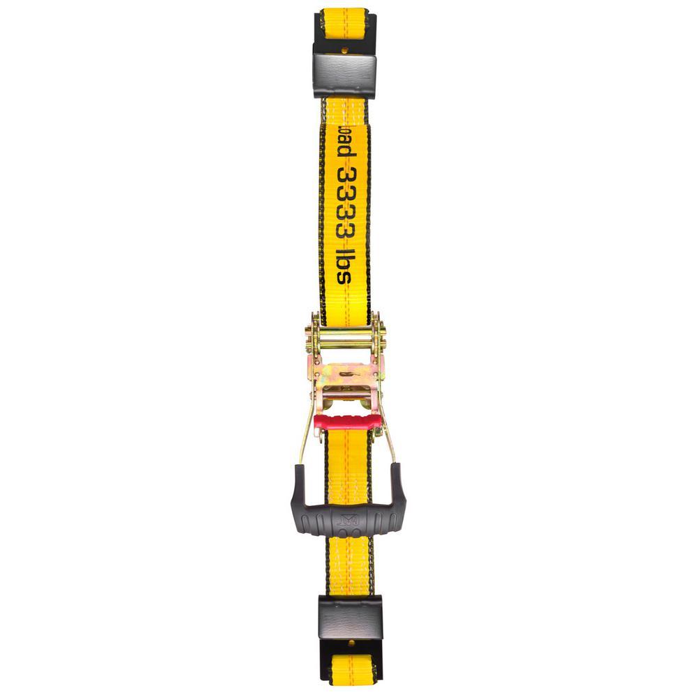 27 ft. x 2 in. 3333 lbs. Heavy-Duty Trailer Tie-Down Strap with Flat Hooks