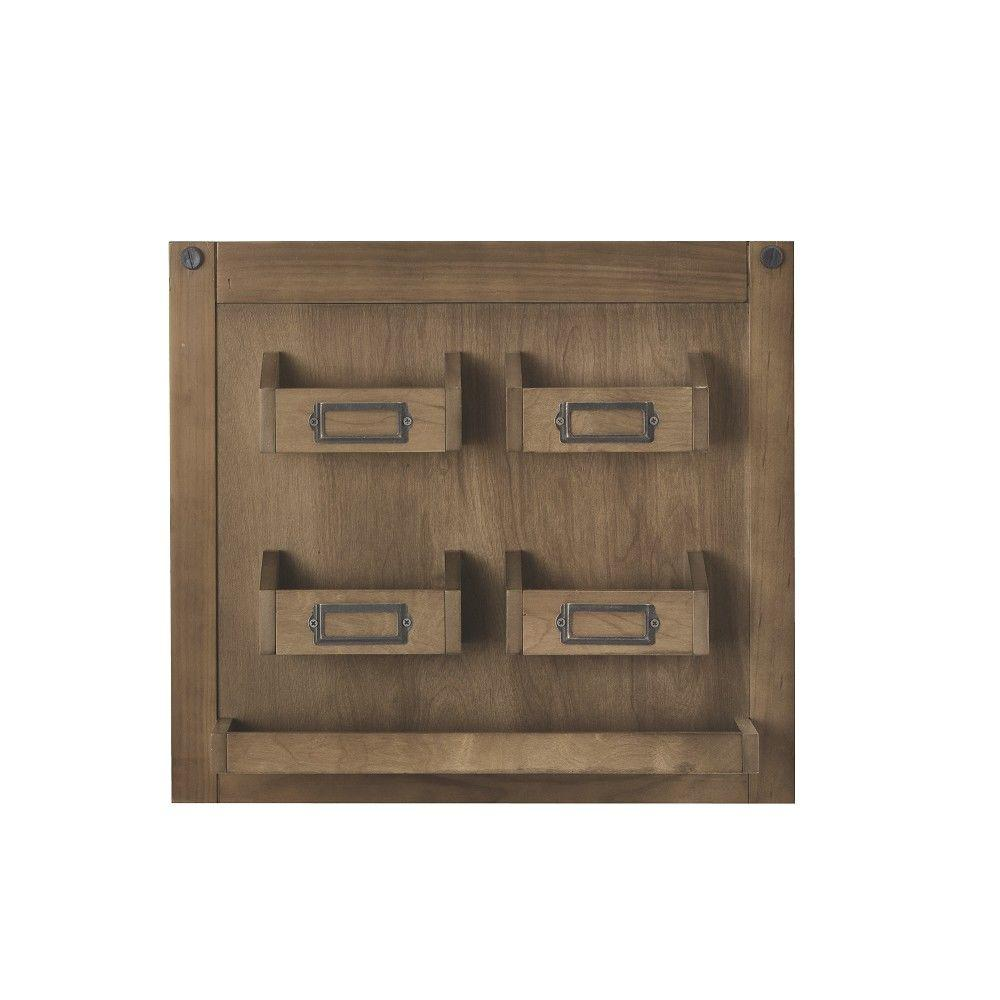 HOME DECORATORS Soren 18 in. H x 20 in. W Wall Charger Panel in Rustic Pine Keeping track of your device chargers and gadgets can be hard if you're always moving them to a new outlet. The Soren Wall Panel will solve your problem by keeping it all organized in one place. This wall organizer has 4 slots for your electronic devices and cords, each with a label holder for easy identification. So, at the end of each day, or whenever one of your gadgets is running low on power, your charger is easy to find in this oragnizer. Once charged, wind up your charging cord and store it in the labeled slot for easy retrieval later. The slots can also be used for accessible long-term storage of cameras, zip drives, and other small office electronics. The lower shelf can hold memory cards, batteries, pens and other items, making this stylish wall panel an ideal organizer for any office space. Color: rustic pine.