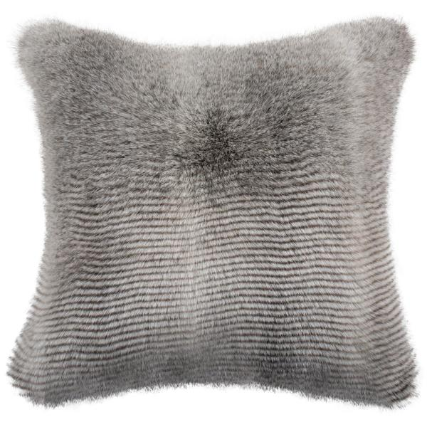 Wavy Grey Solid Faux Fur Down Alternative 20 in. x 20 in. Throw Pillow