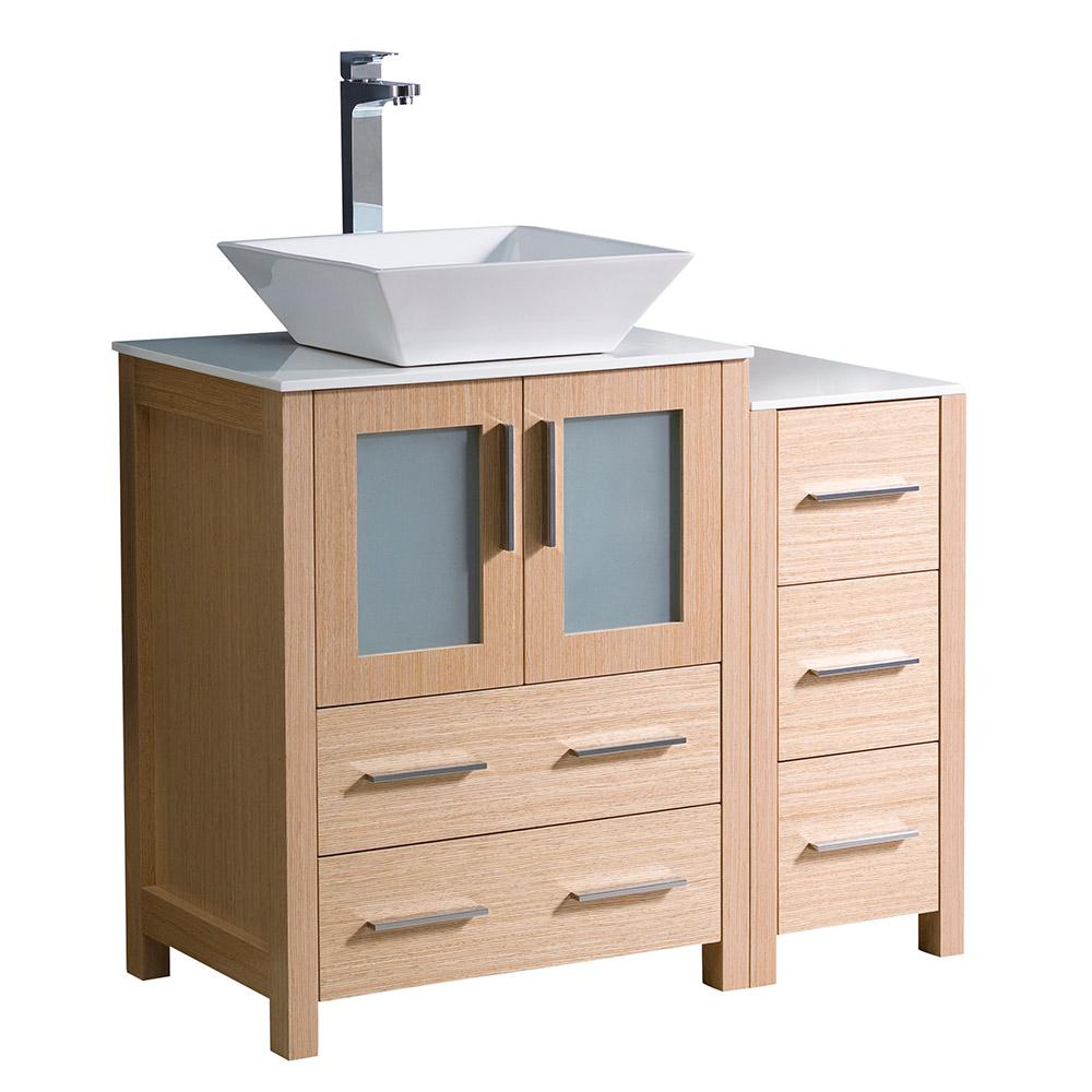 bathroom cabinet oak fresca torino 36 in bath vanity in light oak with glass 11103