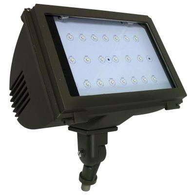 40-Watt Bronze Integrated LED Outdoor Adjustable Round Back Flood Light