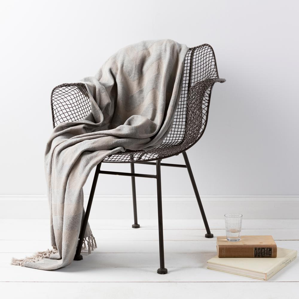 Lani Light Gray Cotton Throw