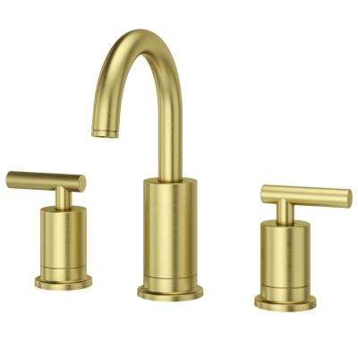 Superbe Widespread 2 Handle Bathroom Faucet In Brushed Gold