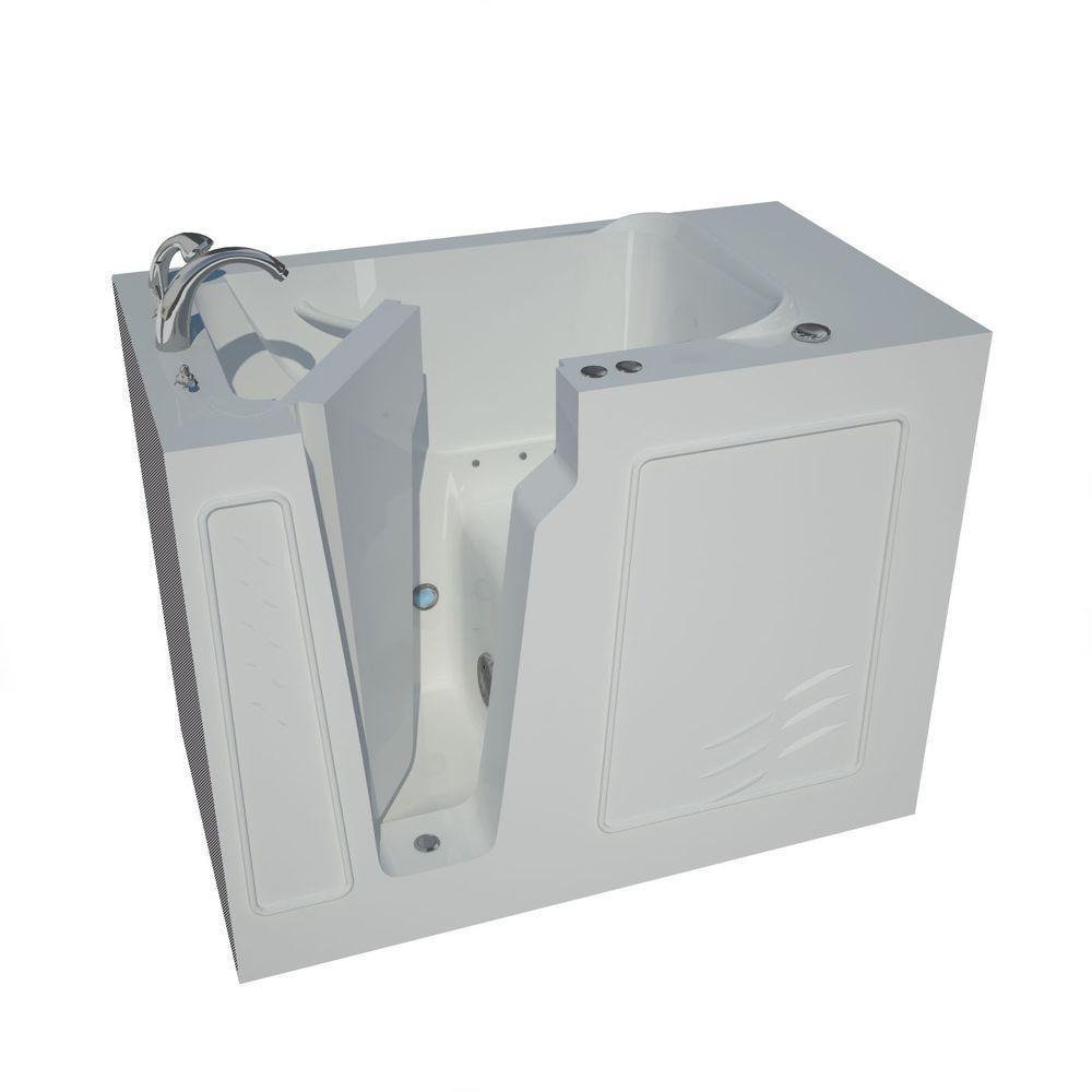4.4 ft. Left Drain Walk-In Air Bath Tub in White
