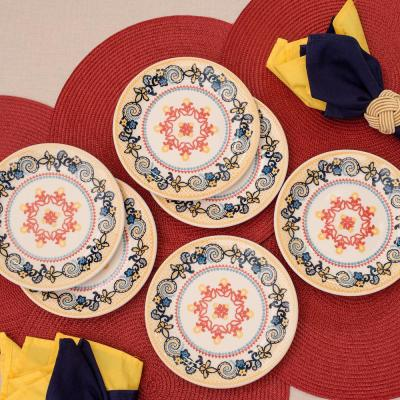 10.04 in. Floreal  Orange and Yellow Dinner Plates (Set of 12)