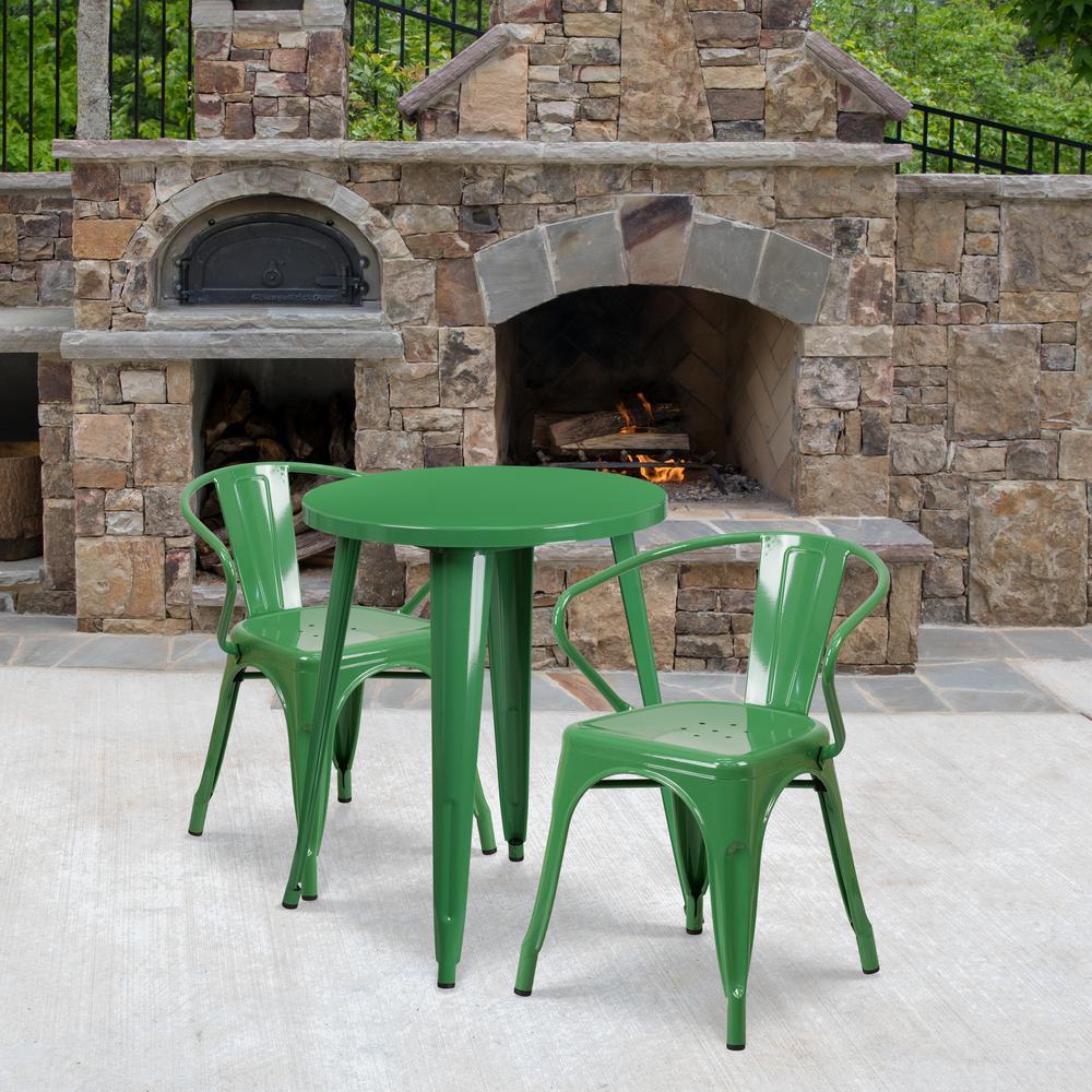3-Piece Metal Round Outdoor Bistro Set in Green