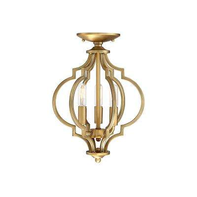 3-Light Natural Brass Semi-Flush Mount