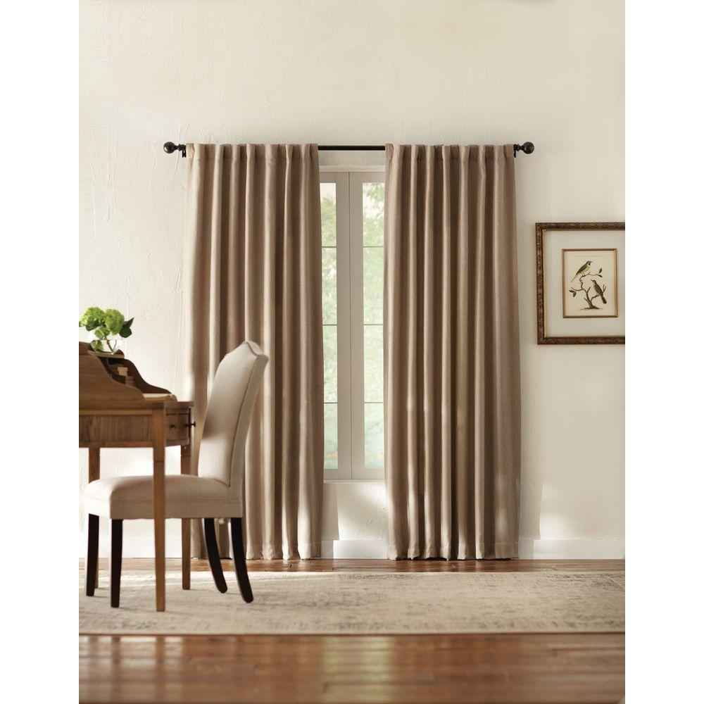 Home Decorators Collection Semi Opaque Taupe Tweed Room Darkening Back Tab Curtain 1624009 The