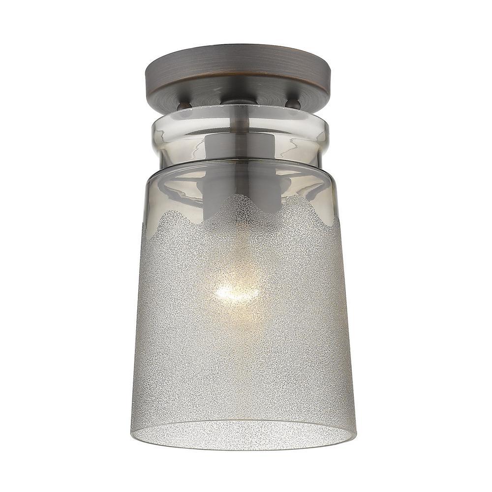 Travers 5.5 in. 1-Light Rubbed Bronze Semi-Flush Mount