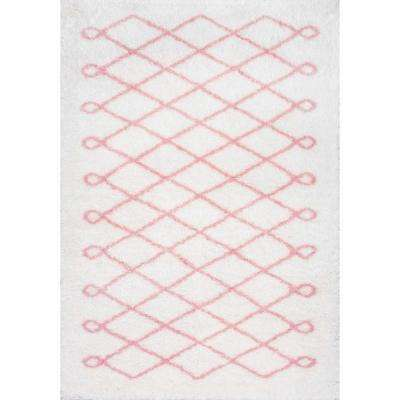 Stasia Diamond Shag Baby Pink 6 ft. 7 in. x 9 ft. Area Rug