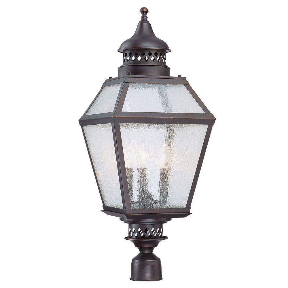 3-Light Outdoor English Bronze Pale Cream Seeded Glass