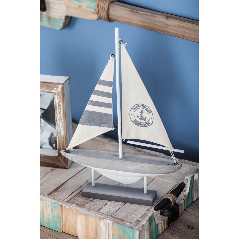 9 in. x 13 in. Coastal Living Wood Cement Sailboat Decor