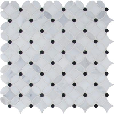 Florita 13.2 in. x 13.2 in. x 10 mm Polished Marble Mesh-Mounted Mosaic Tile (12.10 sq. ft./case)
