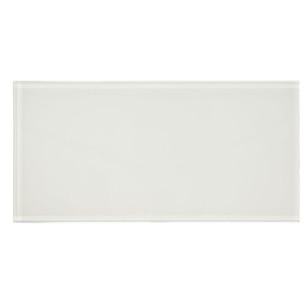 Lunar White 8 in. x 12 in. Glass Wall Tile