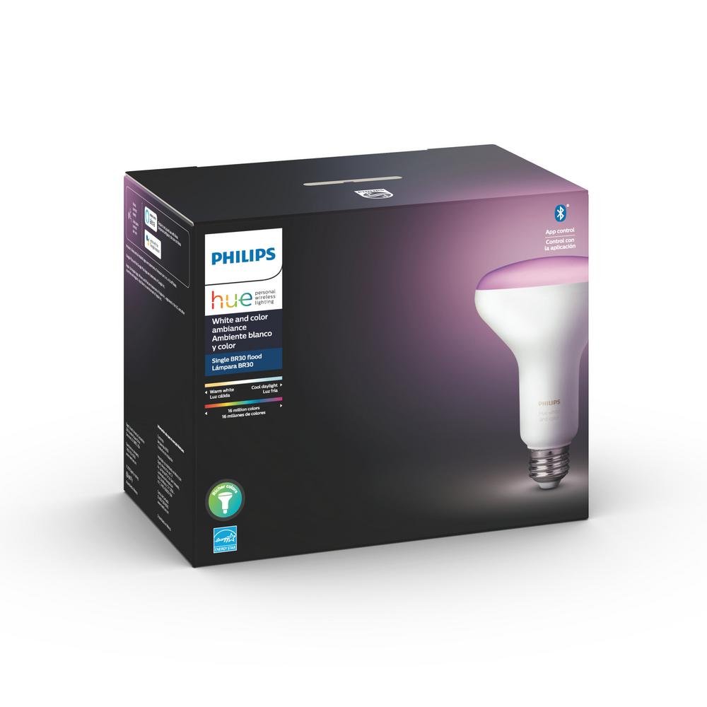 Philips Hue White and Color Ambiance BR30 LED 65W Equivalent Dimmable Smart Wireless Flood Light Bulb with Bluetooth