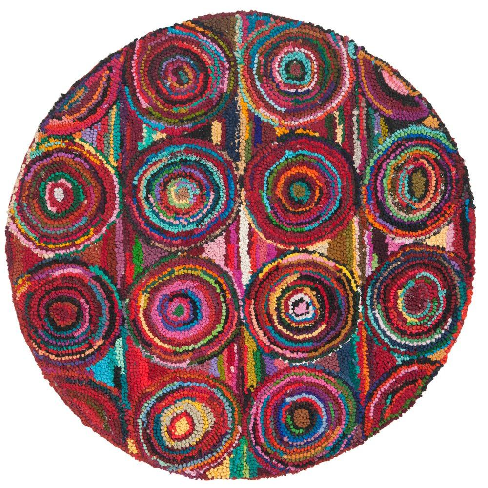 Safavieh Nantucket Pink/Multi 6 Ft. X 6 Ft. Round Area Rug NAN143A 6R   The Home  Depot