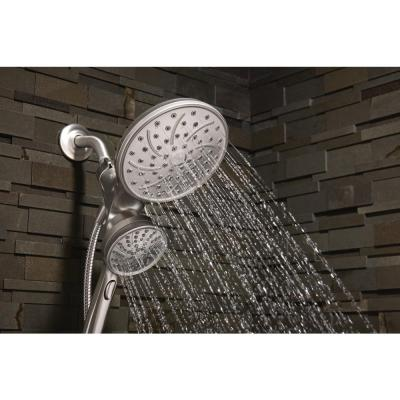 Attract with Magnetix 6-spray 6.75 in. Dual Shower Head and Adjustable Handheld in Spot Resist Brushed Nickel