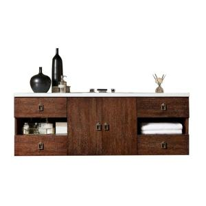 Sonoma 60 in. W Single Vanity in Coffee Oak with Quartz Vanity Top in White with White Basin