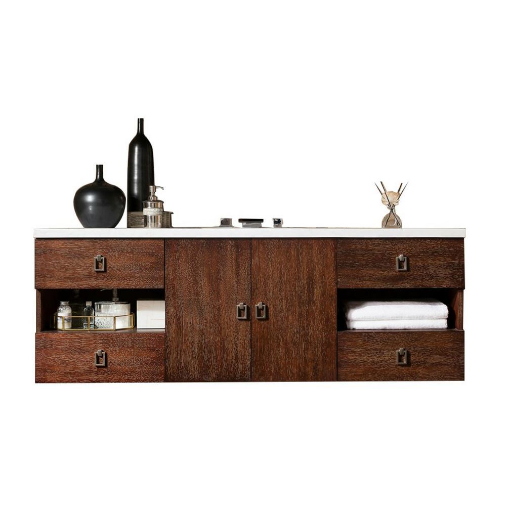 Sonoma 60 in. W Single Vanity in Coffee Oak with Quartz Vanity Top in White with White Basin