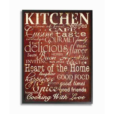 """11 in. x 14 in. """"Words in the Kitchen, Off Red"""" by Gplicensing Wood Framed Wall Art"""
