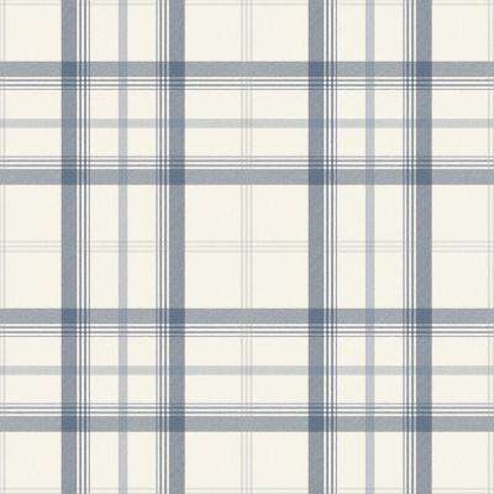 Cambridge Blue Plaid Paper Peelable Roll Wallpaper (Covers 56.4 sq. ft.)