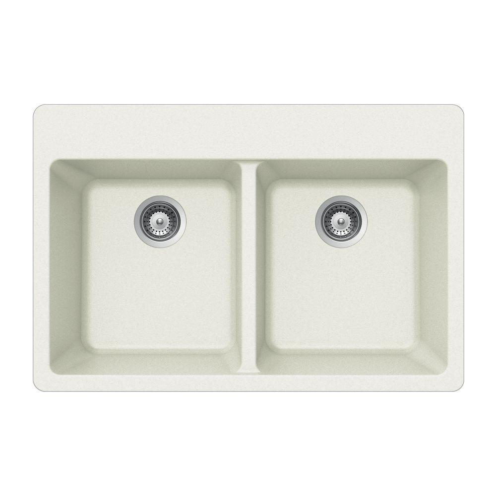 HOUZER Madison Series Drop-In Granite 33x22x9.5 0-hole Double Basin Kitchen Sink in Alpina