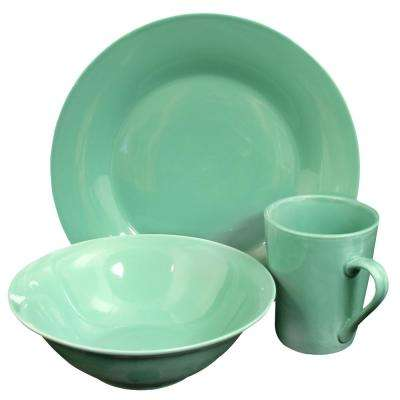 Carlton 12-Piece Teal Dinnerware Set