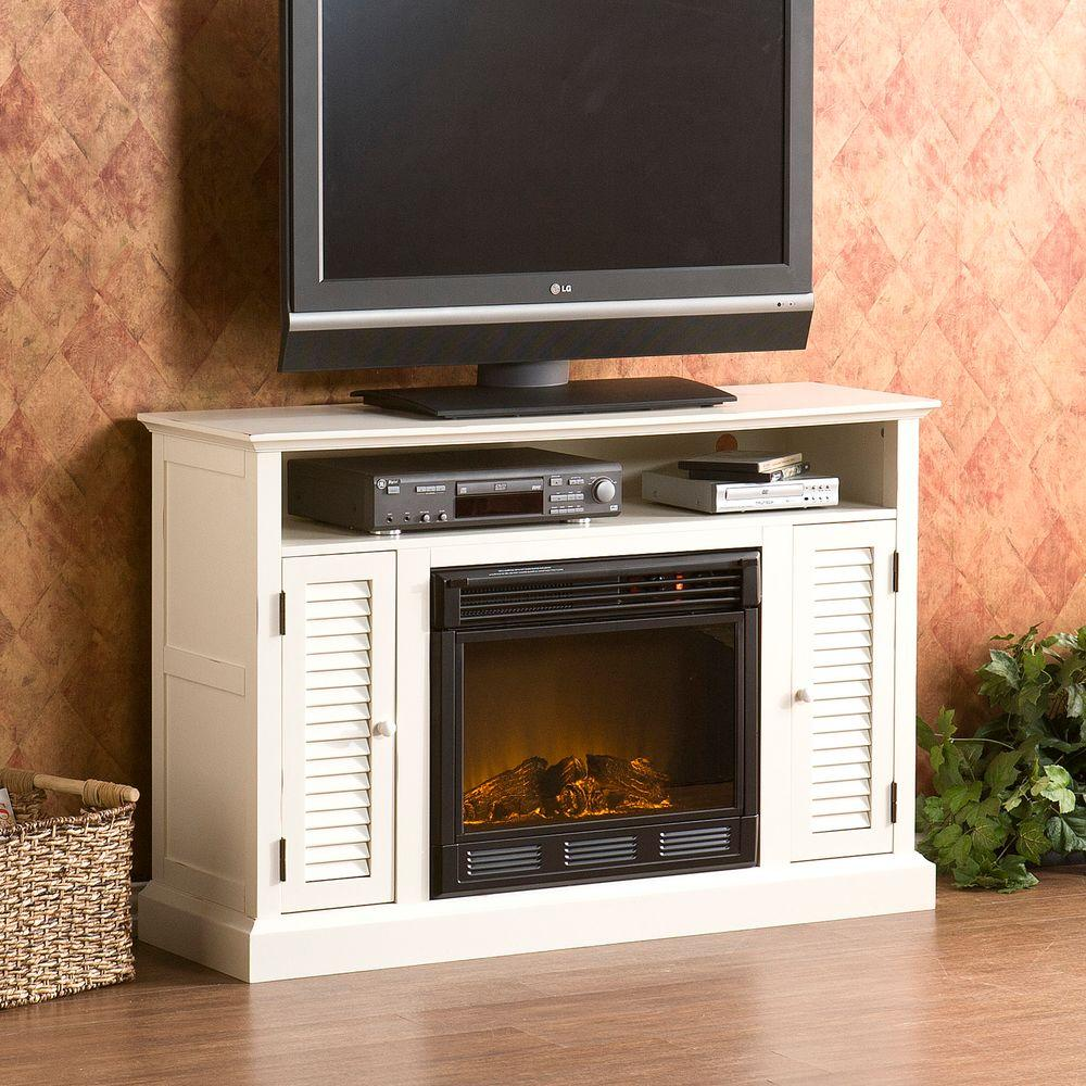 Southern Enterprises Antebellum 48 in. Media Console Electric Fireplace in Antique White