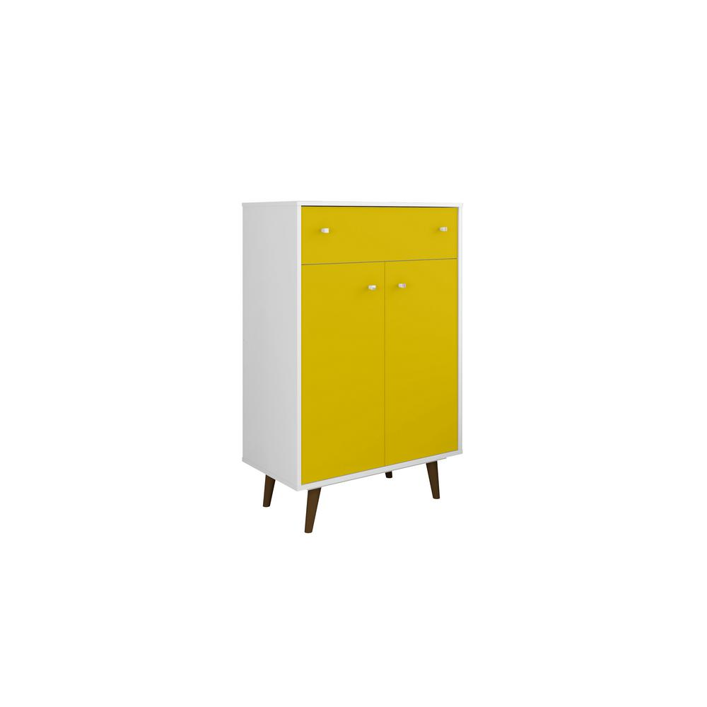 Liberty 28.07 in. White and Yellow Storage Cabinet