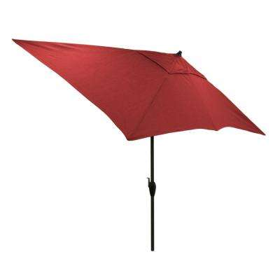10 ft. x 6 ft. Aluminum Patio Umbrella in Chili with Push-Button Tilt